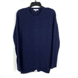 Madewell Navy Blue Cable Knit Sweater Hi Low Hem